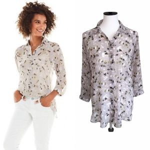 Cabi Matinee Floral Print Sheer Blouse 5204 XS